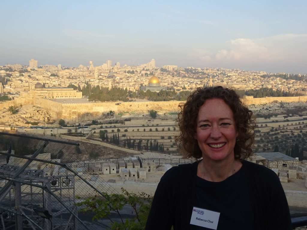 Bec at sunrise on the Mount of Olives