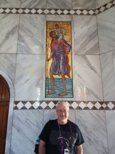 Chris in front of icon of St Christopher at Lydia's Baptistery, Philippi-2