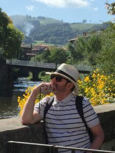 Deep in contemplation on river Urola in Loyola